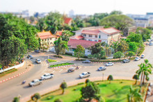 Vientiane - Laos, February 25, 2016: A View Of The City From Above From The Central Gates In Tiltshift Style