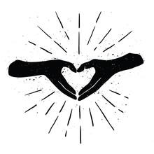 Black Hands Shaping Yellow Heart Handdrawn Black Color Illustration.