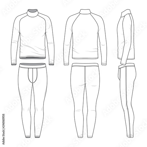 Male Sports Clothing Set Blank Template Of Raglan Sleeves Tee And Joggers Pants In Front Back And Side Views Casual Style Vector Illustration For Your Fashion Design Isolated On White Background
