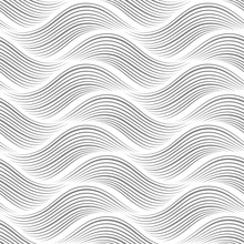 Abstract Wavy Background. Geometric Seamless Pattern. Black And White Texture. Vector Illustration.