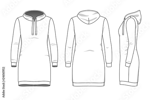 Female Dress Clothing Set Blank Template Of Hood Sweatdress In Front Back And Side Views Casual Style Vector Illustration For Your Fashion Design Buy This Stock Vector And Explore Similar Vectors