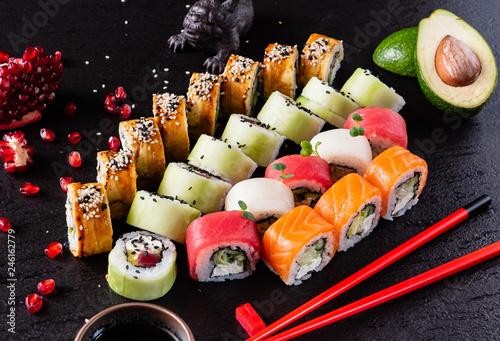 Fototapeta sushi on the black background obraz