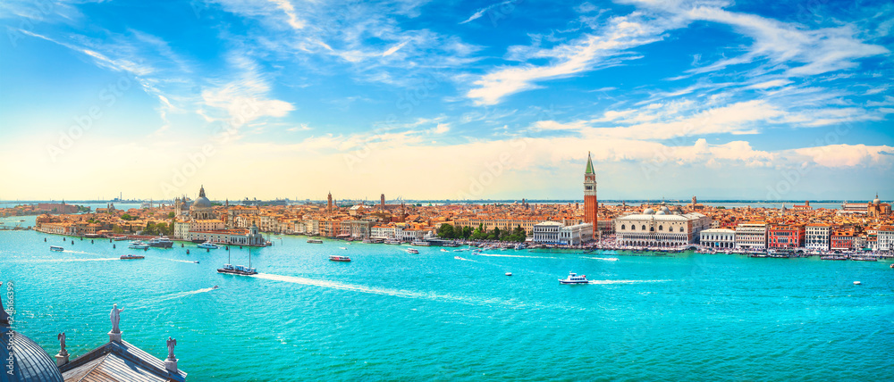 Fototapety, obrazy: Venice Grand Canal aerial view. Italy
