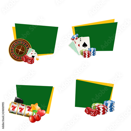 Fotografia, Obraz  Vector realistic casino gamble stickers with place for text set illustration