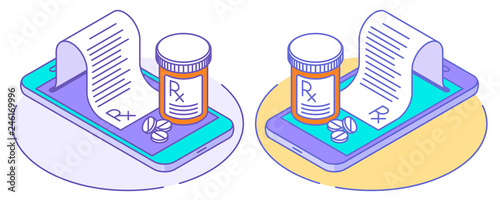 Photo  A doctor online writes the medical prescription, pill bottles on the smartphones, rx from the screen