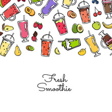 Banner And Poster Vector Doodle Colored Smoothie Drink Background Illustration
