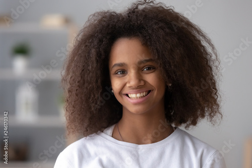 Outstanding Portrait Of Happy African American Teen Girl Looking At Camera At Natural Hairstyles Runnerswayorg
