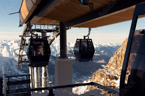 Cable car on the ski resort in France. Beautiful winter landscape and snow covered mountains
