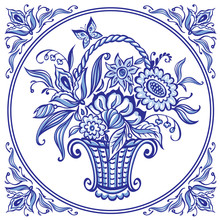 A Basket With Flowers In Blue Colors In A Patterned Frame, Delft Style Tile, Gzhel Painting, Chinese Porcelain, Vector Illustration, Decor For Various Designs.