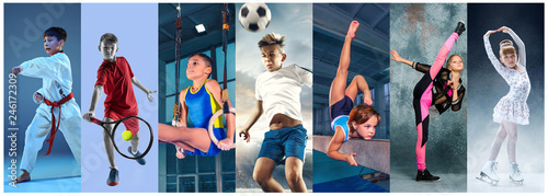 Fotografija Sport collage about teen or child athletes or players