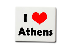 I Love Athens (Greece) Souvenir Refrigerator Magnet Isolated On White Background