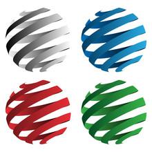 Spiral Ribbon 3D Sphere Geomet...