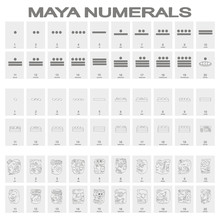 Vector Icon Set With Maya Head Numerals Glyphs For Your Design