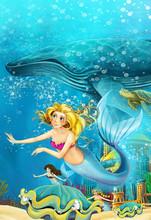 Cartoon Ocean And The Mermaid ...
