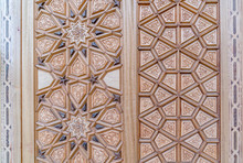 Details Of A Fine Wood Carving Art On The Door An Islamic Art And Craft, Ankara, Turkey