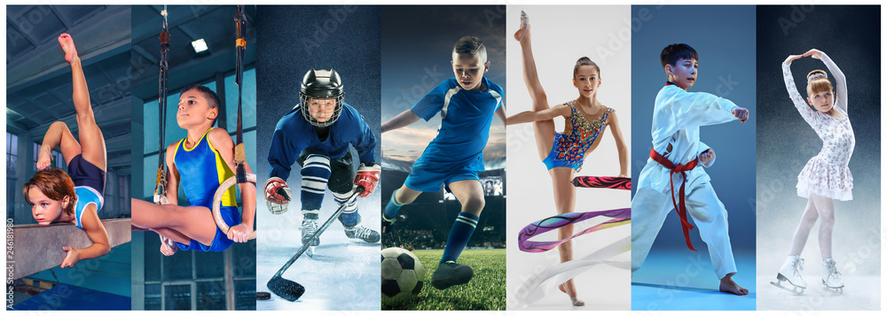 Fototapety, obrazy: Attack. Sport collage about teen or child athletes or players. The soccer football, ice hockey, figure skating, karate martial arts, rhythmic gymnastics. Little boys and girls in action or motion