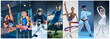 canvas print picture - Attack. Sport collage about teen or child athletes or players. The soccer football, ice hockey, figure skating, karate martial arts, rhythmic gymnastics. Little boys and girls in action or motion
