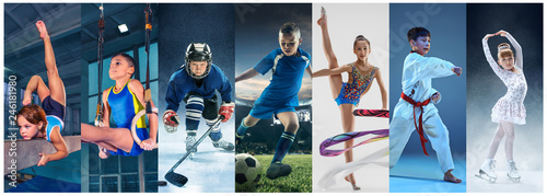 Fototapeta Attack. Sport collage about teen or child athletes or players. The soccer football, ice hockey, figure skating, karate martial arts, rhythmic gymnastics. Little boys and girls in action or motion obraz
