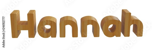 Photo  hannah in 3d name with wooden texture isolated