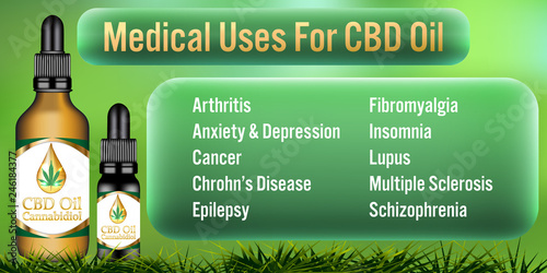 Medical Uses for CBD oil Cannabidiol products background Canvas Print