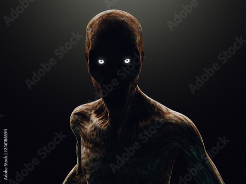 Fotografiet Zombie or monster in the dark, 3d rendering