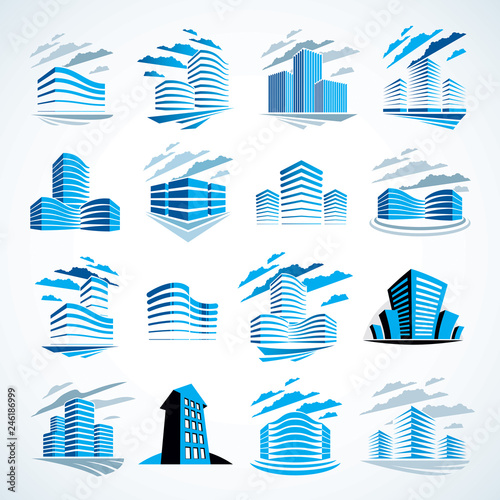 City buildings business financial office vector design set. Futuristic architecture illustrations collection. Real estate realty office center designs. 3D futuristic facades in big city.