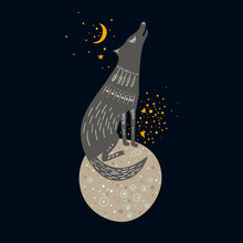 Vector Childish Hand-drawn Illustration. Gray Wolf Sitting On A Planet In Space And Howling At The Moon