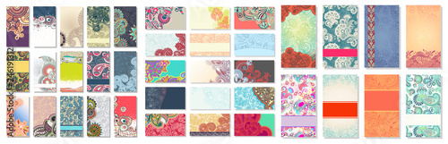 Fotografie, Obraz collection of colorful floral ornamental business card