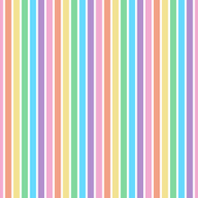 Rainbow Stripes Seamless Pattern - Vertical Stripes Design In Pastel Colors Of Candy Hearts For Valentine's Day