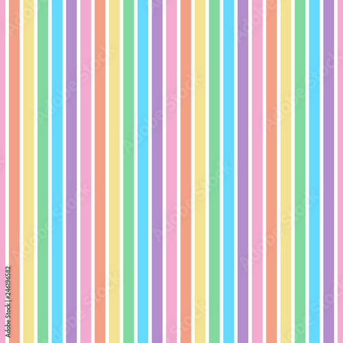 Rainbow Stripes Seamless Pattern - Vertical stripes design in pastel colors of c Canvas Print