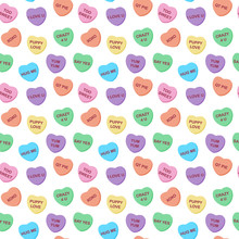 Candy Hearts Seamless Pattern ...