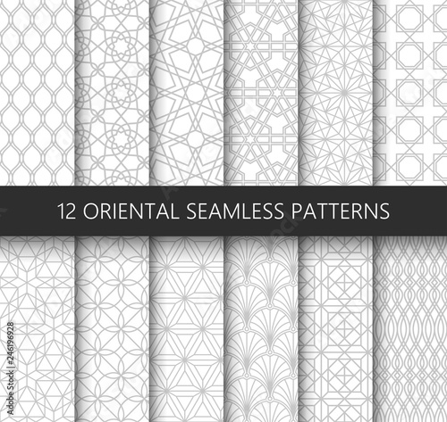Fototapety, obrazy: Set of 12 vector ornamental seamless patterns. Collection of geometric patterns in the oriental style. Patterns added to the swatch panel.