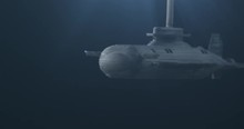 Submarine Launching Torpedos. Model Submarine Under Water. Macro. 4K.