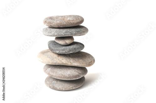Fototapeta closeup of stone balance on white background