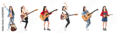 Cute little girl with guitar on white background