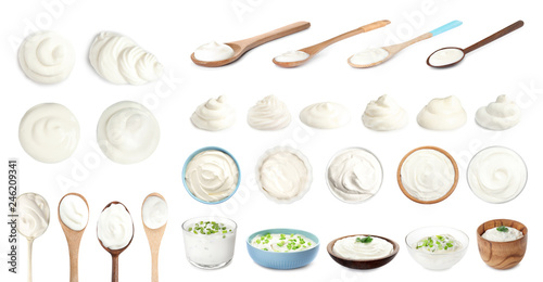 Set of delicious sour cream in dishware on white background Fototapet