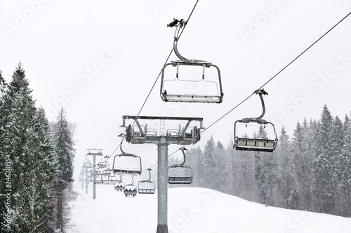 Ski lift at mountain resort. Winter vacation