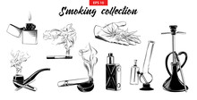 Vector Engraved Style Illustration For Logo, Emblem, Label Or Poster. Hand Drawn Sketch Smoking Set Of Marijuana, Hookah, Cigarette Etc, Isolated On White Background. Detailed Vintage Doodle Drawing.