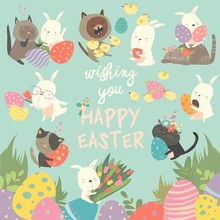 Easter Set With Bunny,eggs,rabbit,flowers,cats, Chick On Blue Background. Vector Illustration