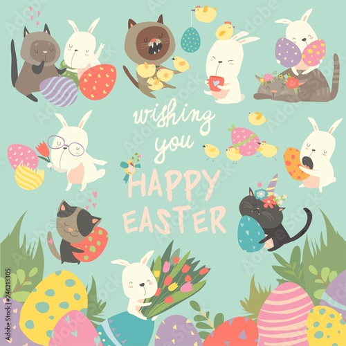 Wielkanocny ustawiający z królikiem, jajkami, królikiem, kwiatami, kotami, kurczakiem na błękitnym tle. ilustracji wektorowych