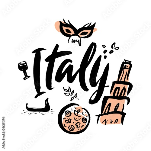 Stampa su Tela Set with iconic symbols in calligraphic style of Italy
