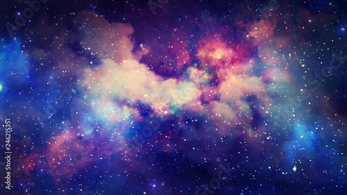 3D rendering of a stellar nebula and cosmic dust, cosmic gas clusters and constellations in deep space Wallpaper Mural