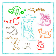 Vector Children's Drawing Outline Objects With Names. Picture, Cat, Mouse, Car, Apple, Badge, Unicorn And More.