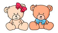 A Cupple Of Little Teddy Bears In Simple Style