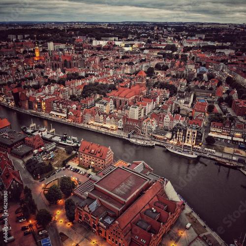 Fotobehang Historisch geb. Top view of Old Town in Gdansk Poland