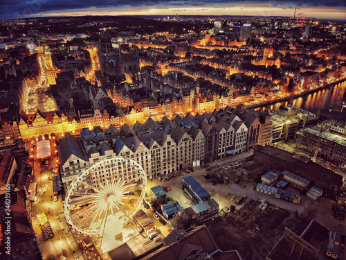 Foto op Canvas Historisch geb. Top view night picture of Old Town in Gdansk Poland