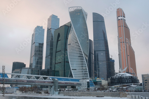 In de dag Stad gebouw Moscow, Russia - January, 07, 2019: Skyscrapers of Moscow city