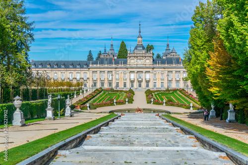 Fototapeta View of Palace la Granja de San Ildefonso from gardens, Spain