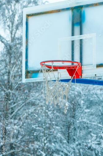 Fotografie, Obraz Frozen outdoor basketball hoop in winter snow