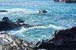 Waves splashing against the rocks. Lanzarote island.